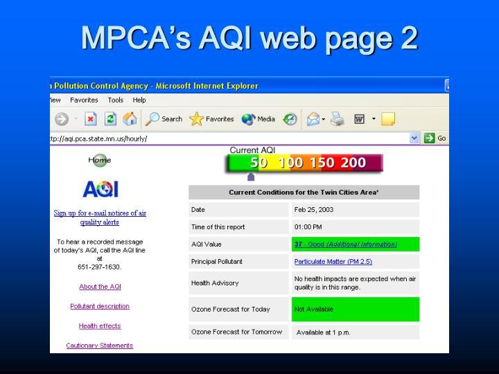 MPCA's AQI web page 2