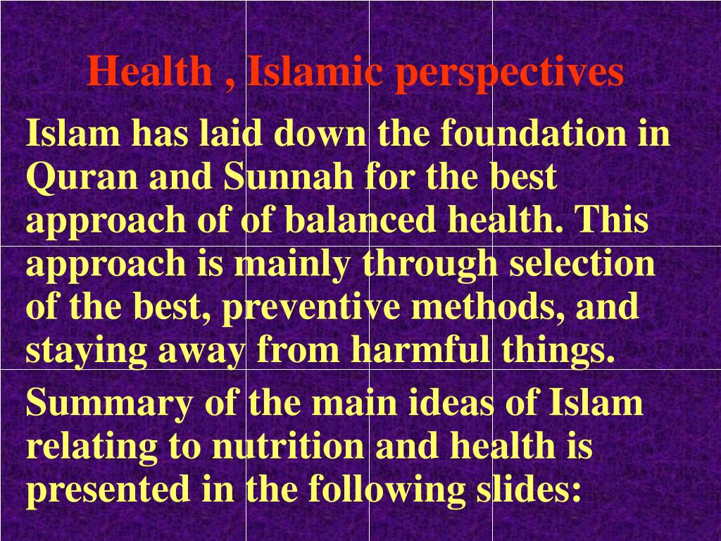Health , Islamic perspectives