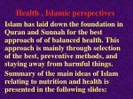 health islamic perspectives