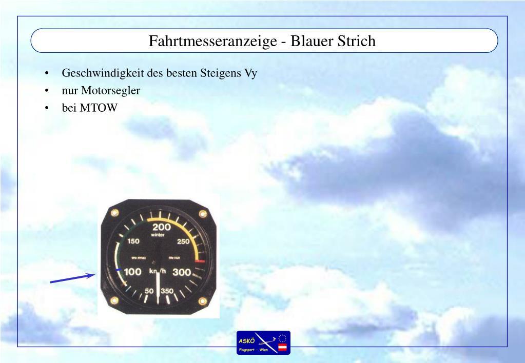 Fahrtmesseranzeige - Blauer Strich
