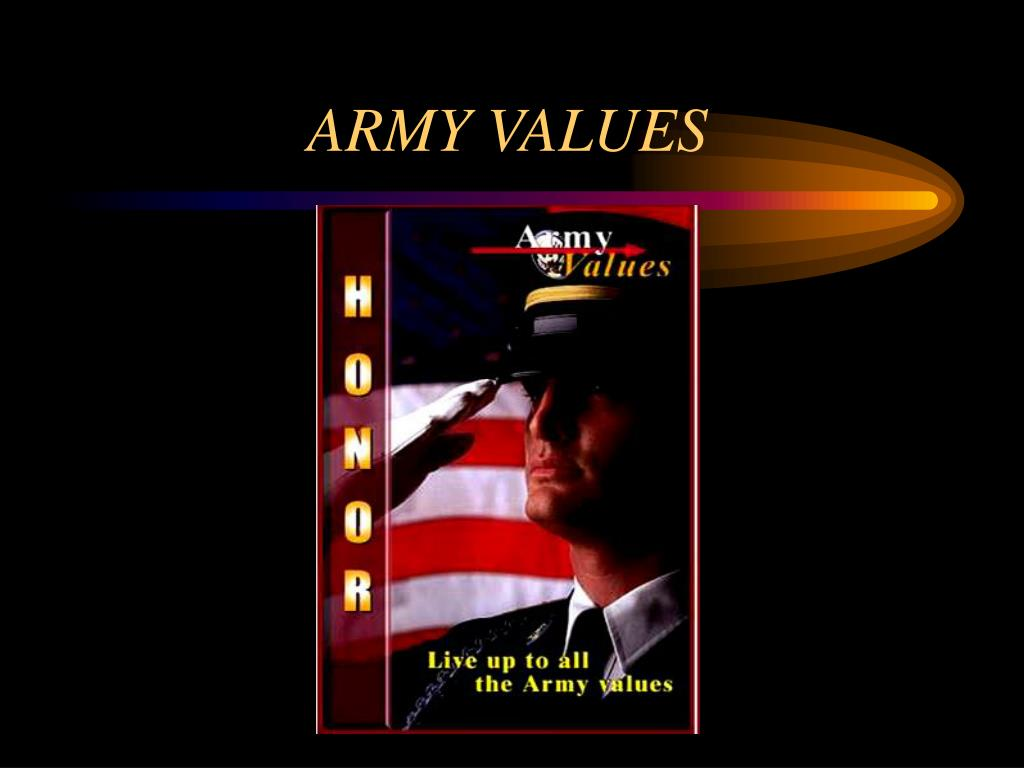 what the army values mean to In the army, respect means recognizing and appreciating the inherent dignity and worth of all people this value reminds you that your people are your greatest resource the needs of the army and the nation come first selfless service means that you don't make decisions or take actions that help your.
