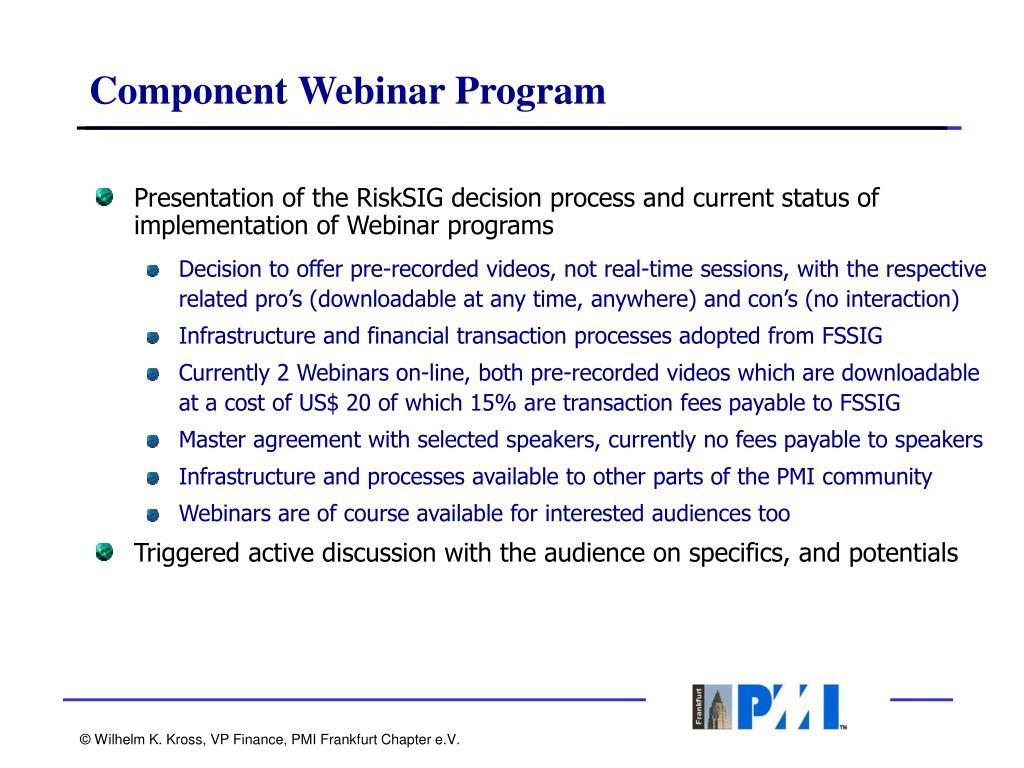 Component Webinar Program
