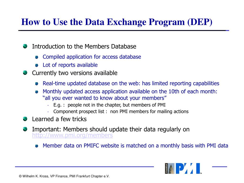 How to Use the Data Exchange Program (DEP)