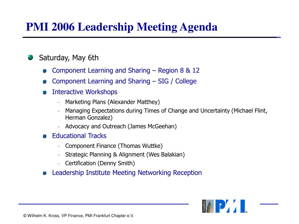 PMI 2006 Leadership Meeting Agenda