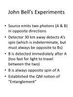 john bell s experiments