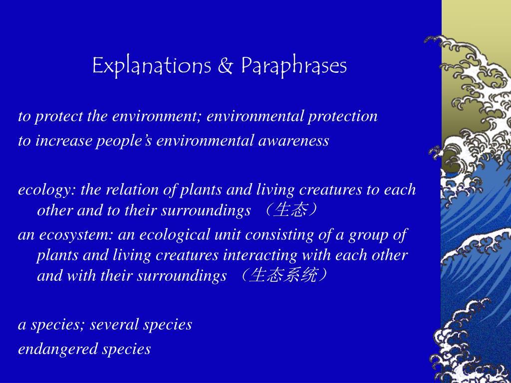Explanations & Paraphrases