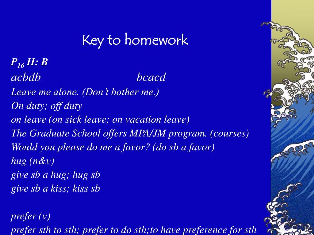Key to homework