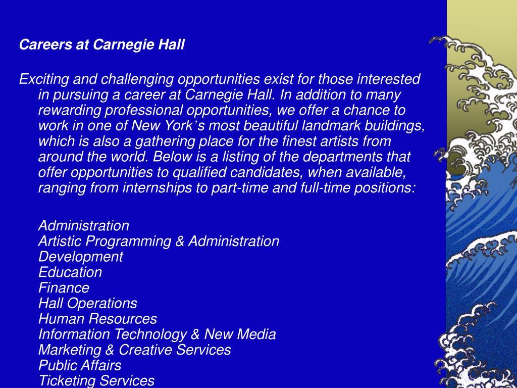 Careers at Carnegie Hall