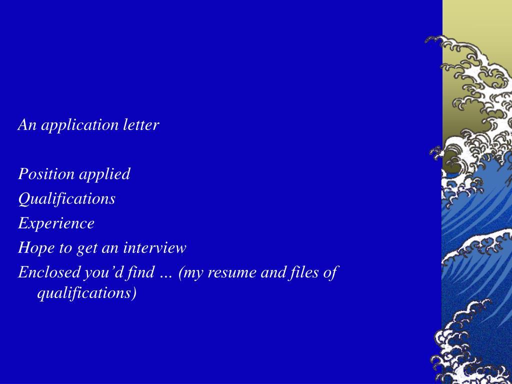 An application letter