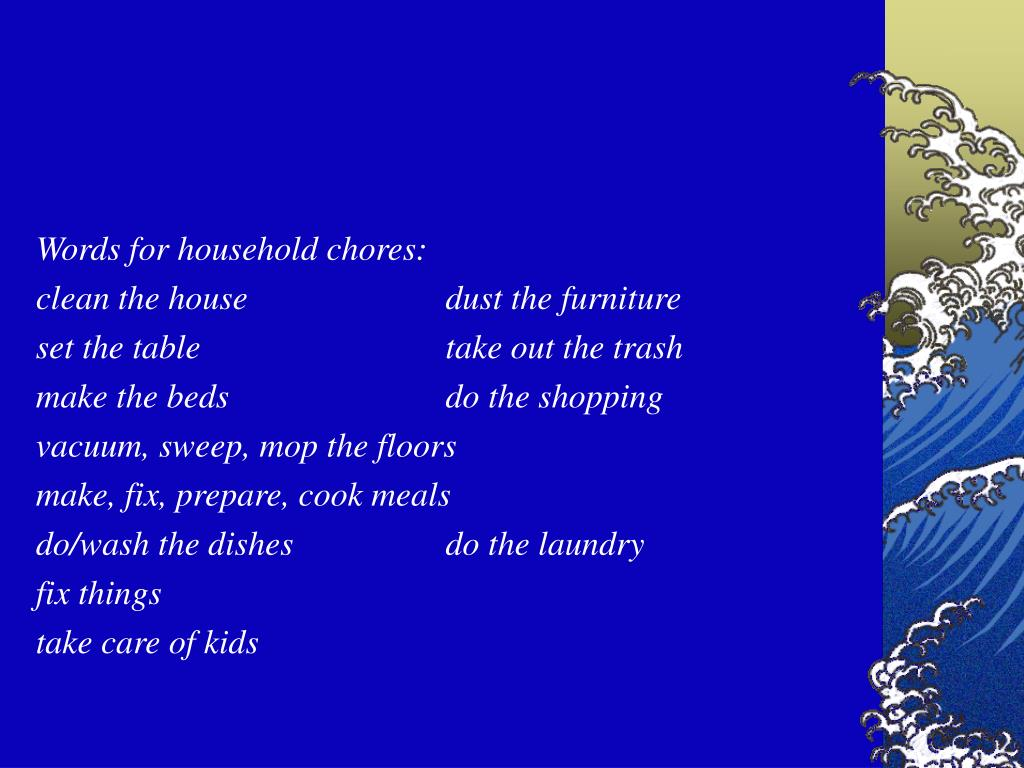 Words for household chores: