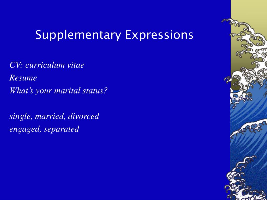 Supplementary Expressions
