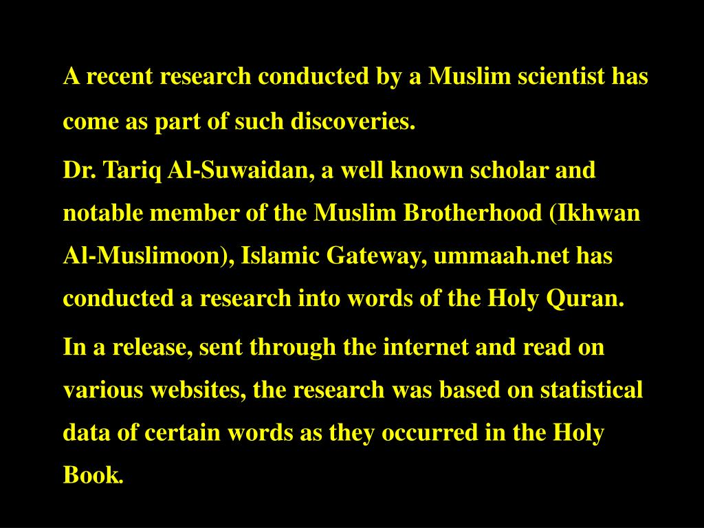 A recent research conducted by a Muslim scientist has come as part of such discoveries.