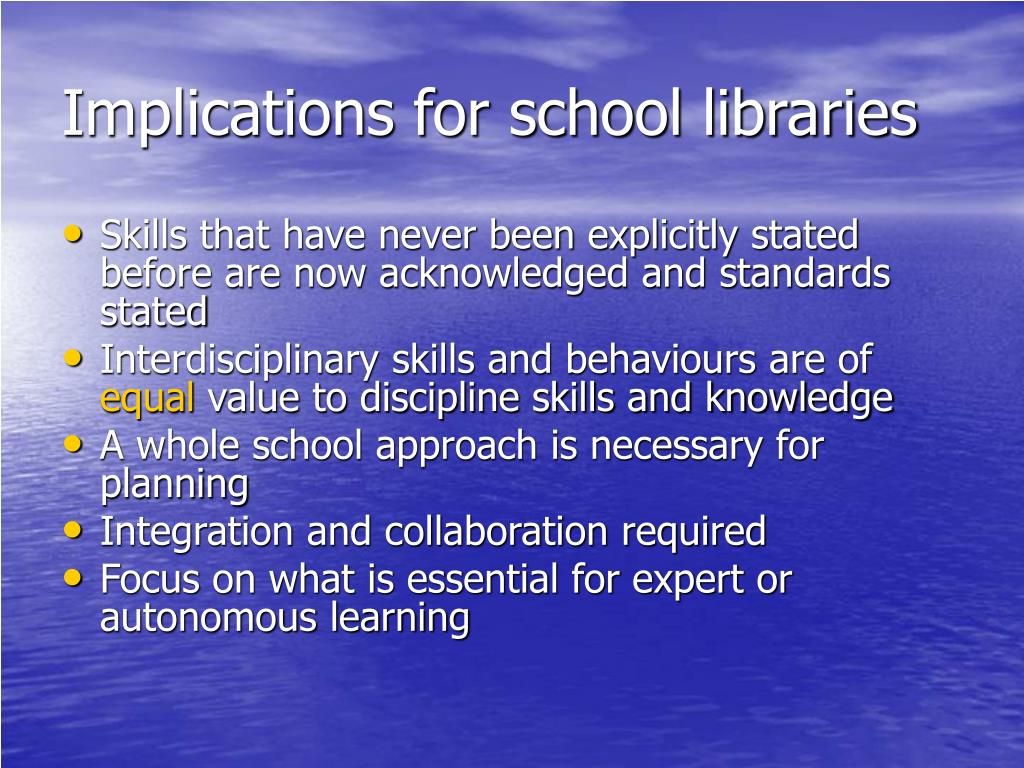 Implications for school libraries