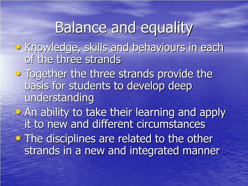 Balance and equality