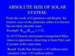 absolute size of solar system