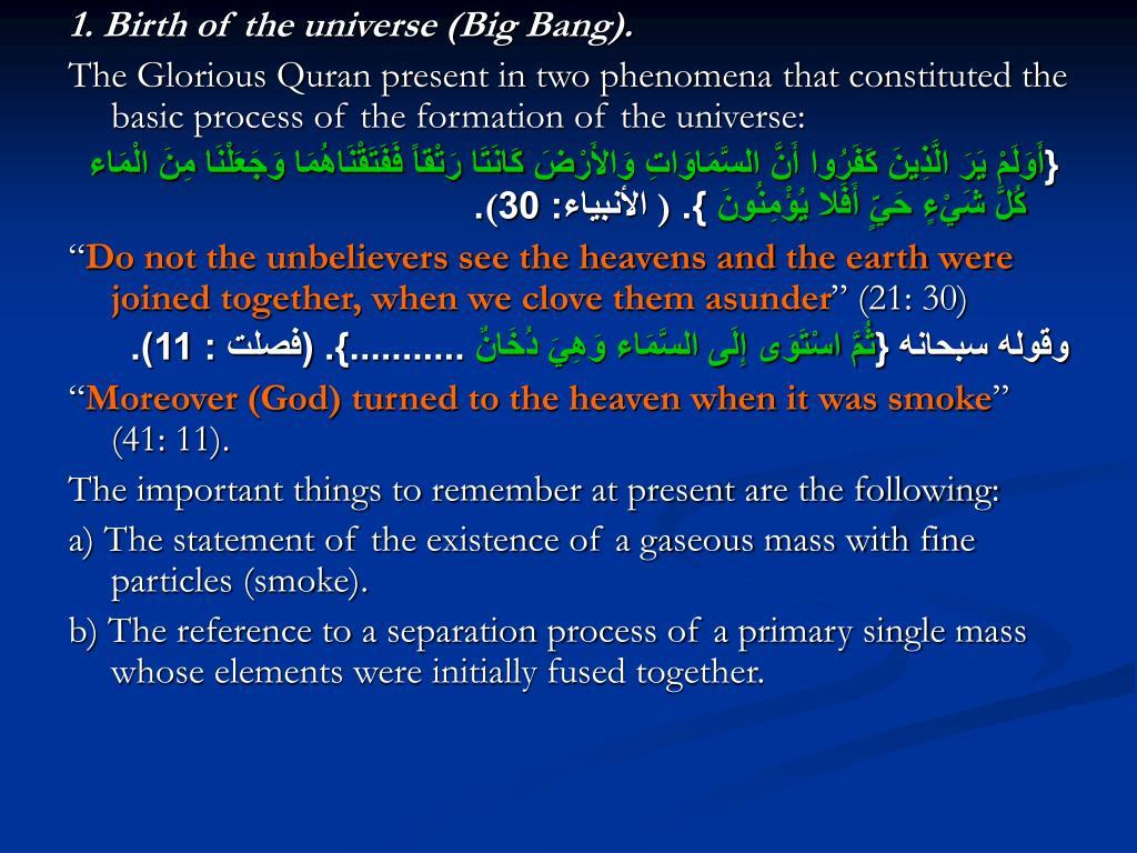 1. Birth of the universe (Big Bang).