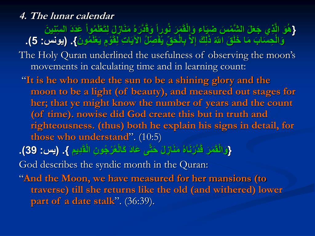 4. The lunar calendar