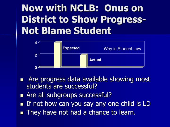 Now with NCLB:  Onus on District to Show Progress-Not Blame Student