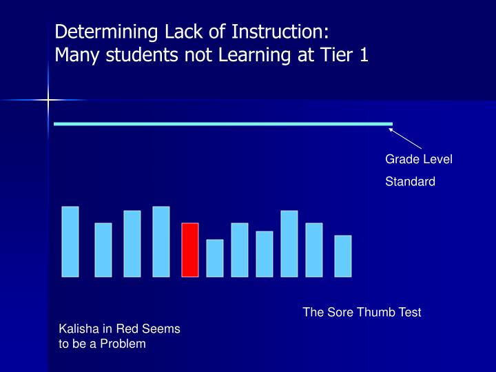 Determining Lack of Instruction:  Many students not Learning at Tier 1