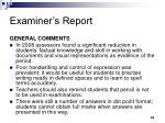 examiner s report