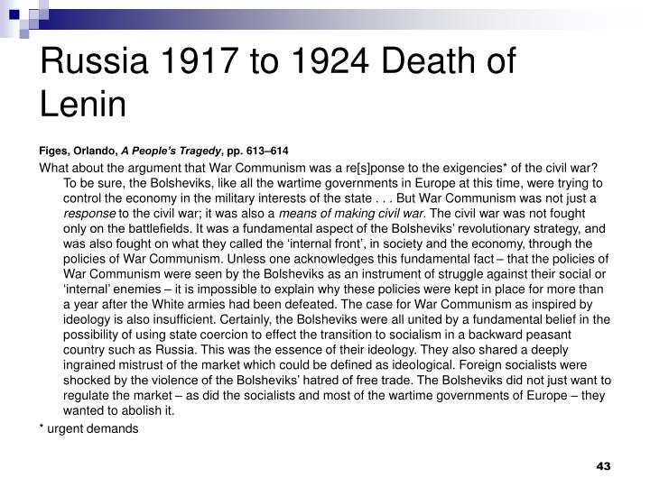 Russia 1917 to 1924 Death of Lenin