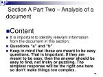 section a part two analysis of a document