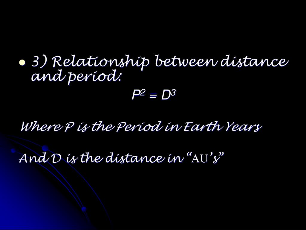 3) Relationship between distance and period: