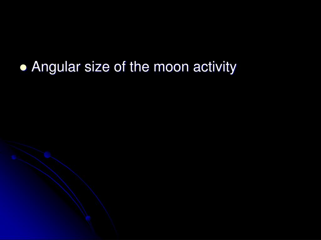 Angular size of the moon activity