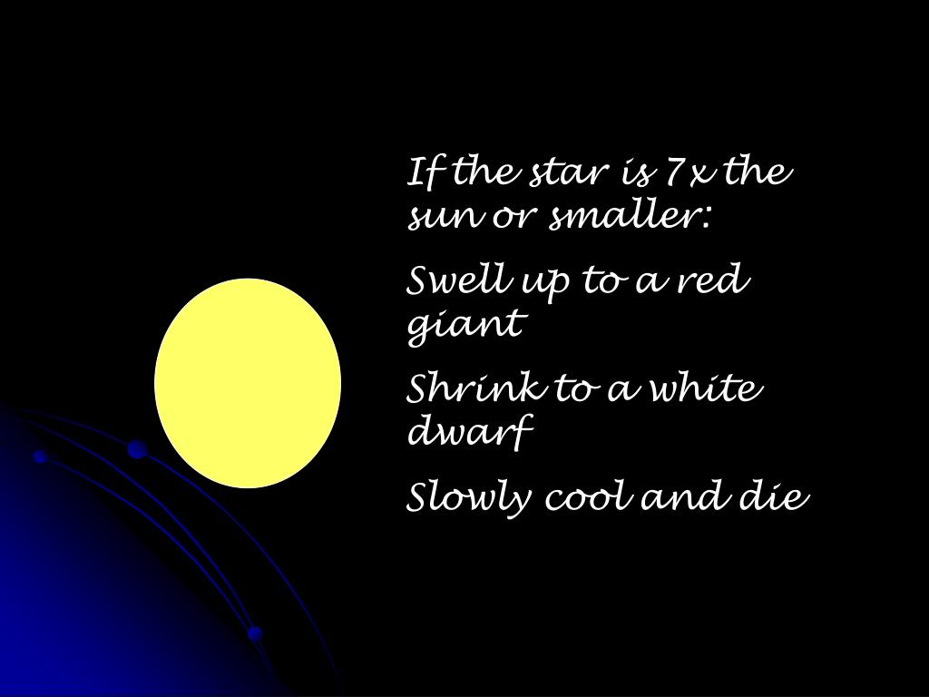 If the star is 7x the sun or smaller: