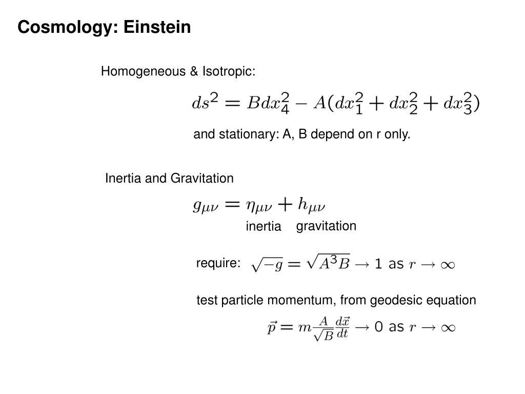 Cosmology: Einstein