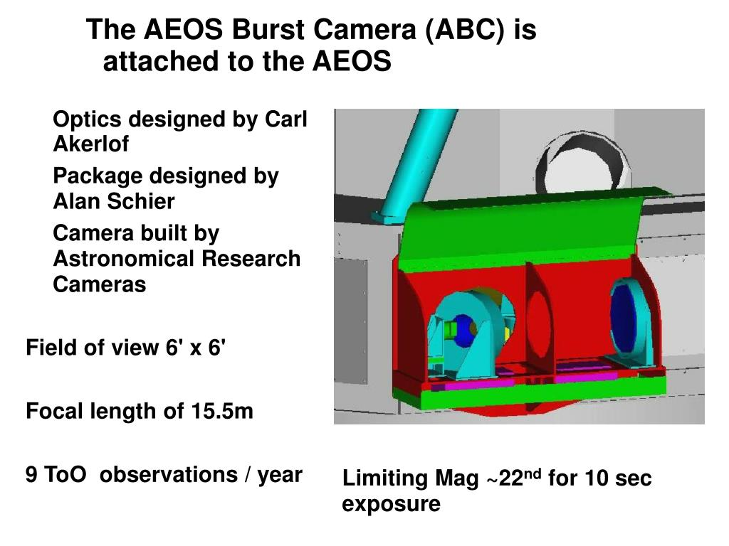 The AEOS Burst Camera (ABC) is attached to the AEOS