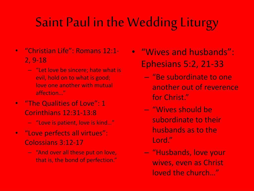 Saint Paul in the Wedding Liturgy