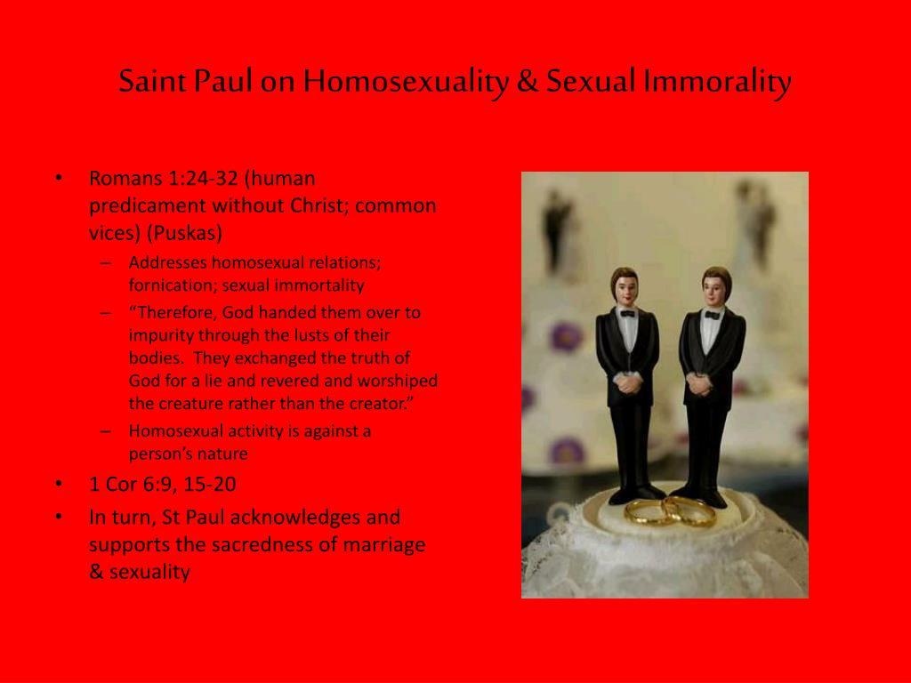 Saint Paul on Homosexuality & Sexual Immorality