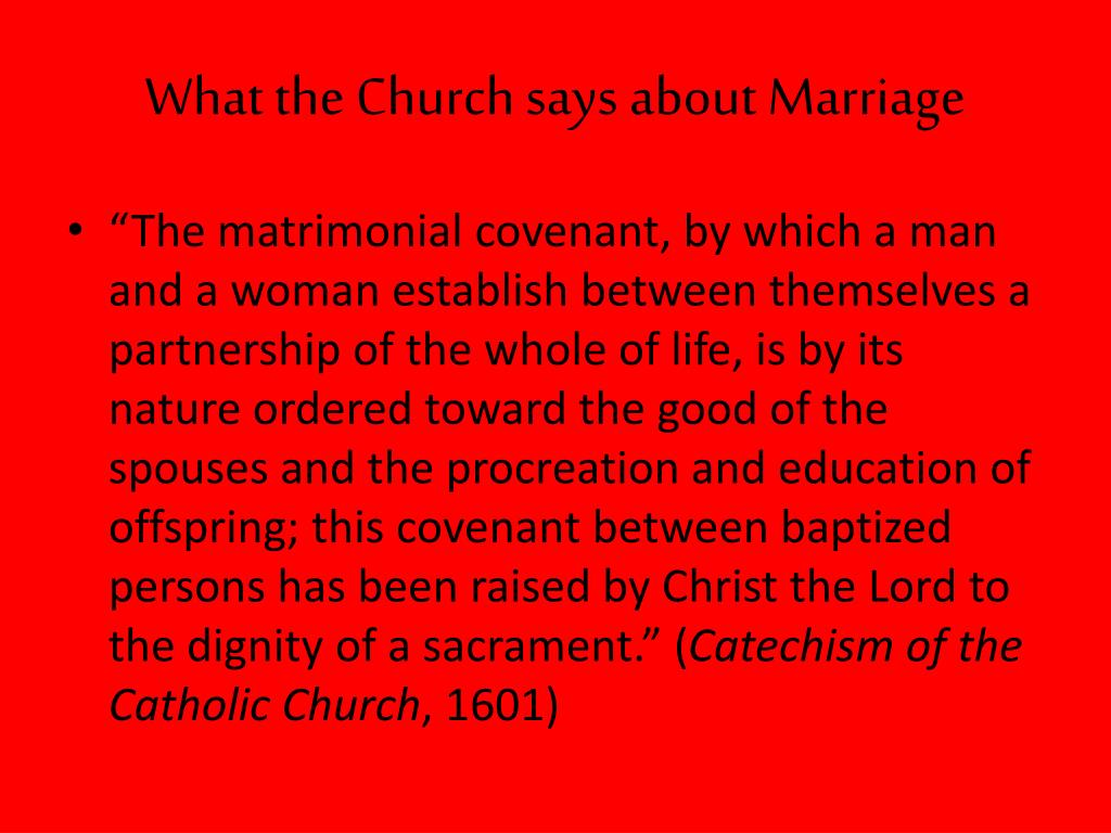 What the Church says about Marriage