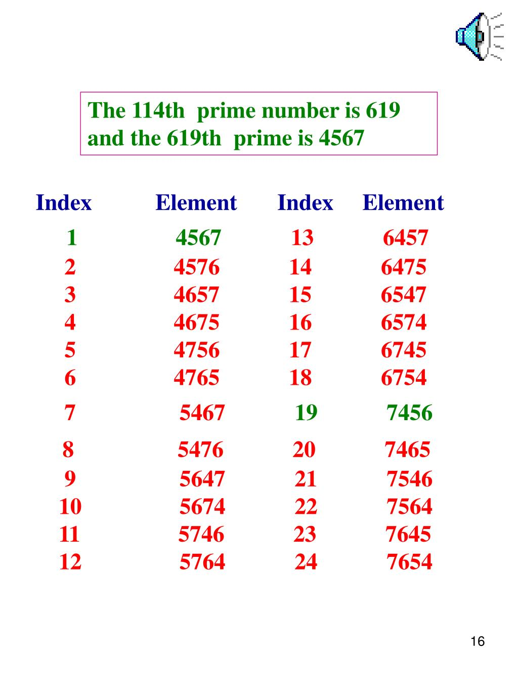The 114th  prime number is 619 and the 619th  prime is 4567