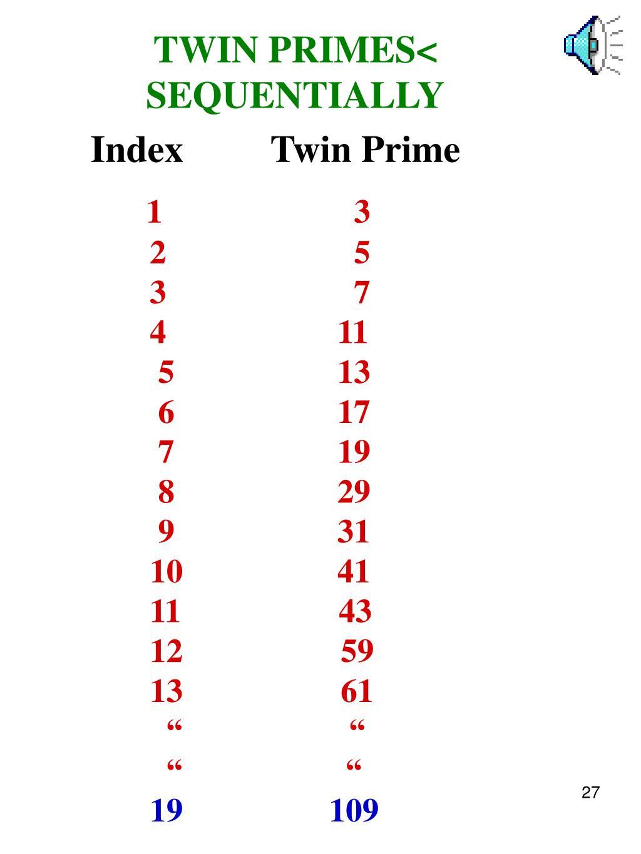TWIN PRIMES<