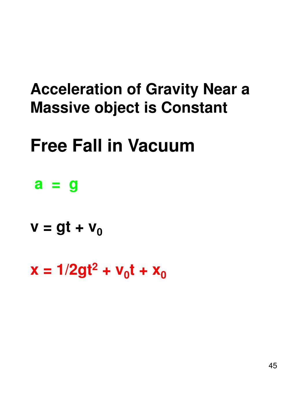 Acceleration of Gravity Near a