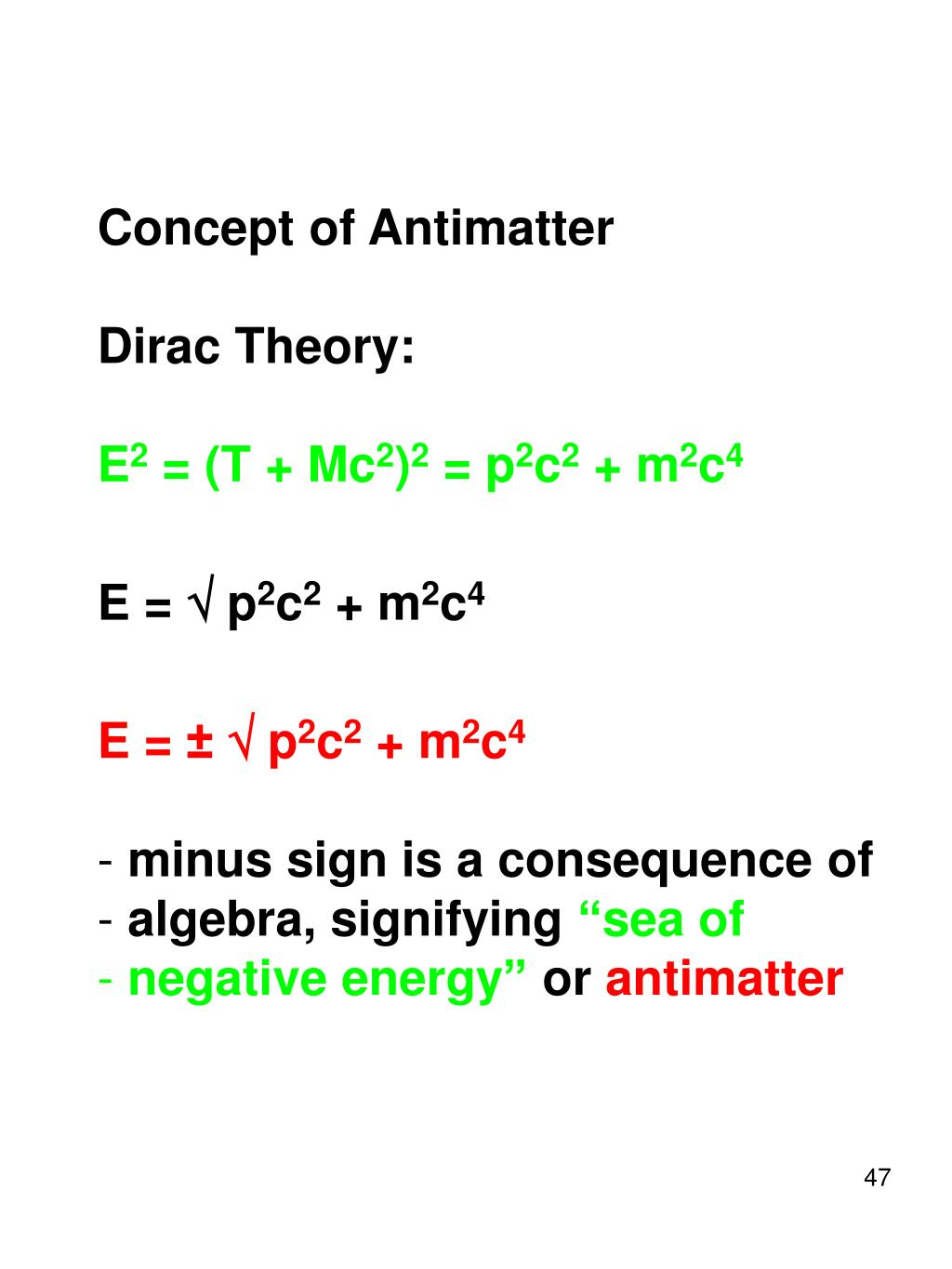 Concept of Antimatter