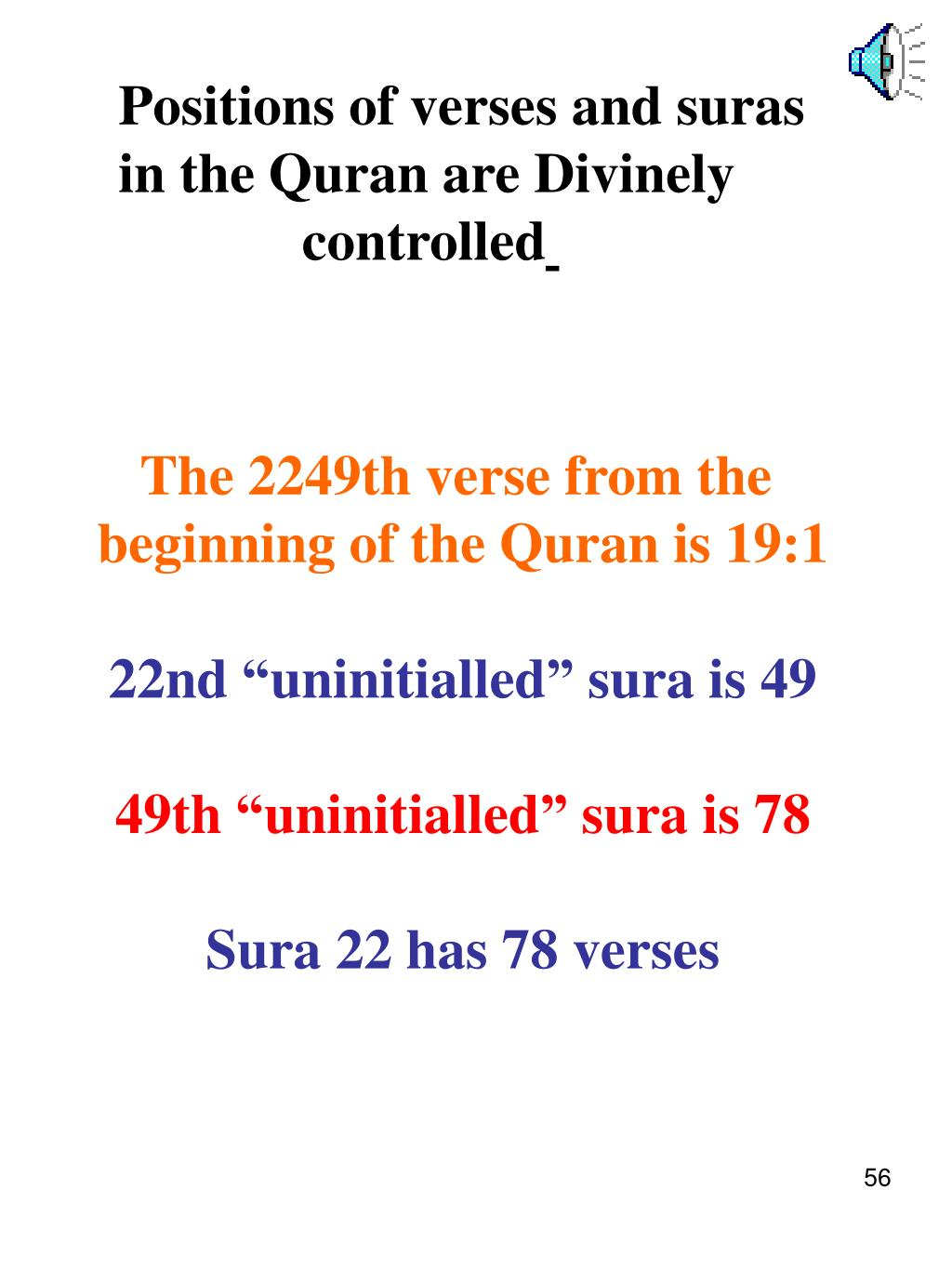 Positions of verses and suras