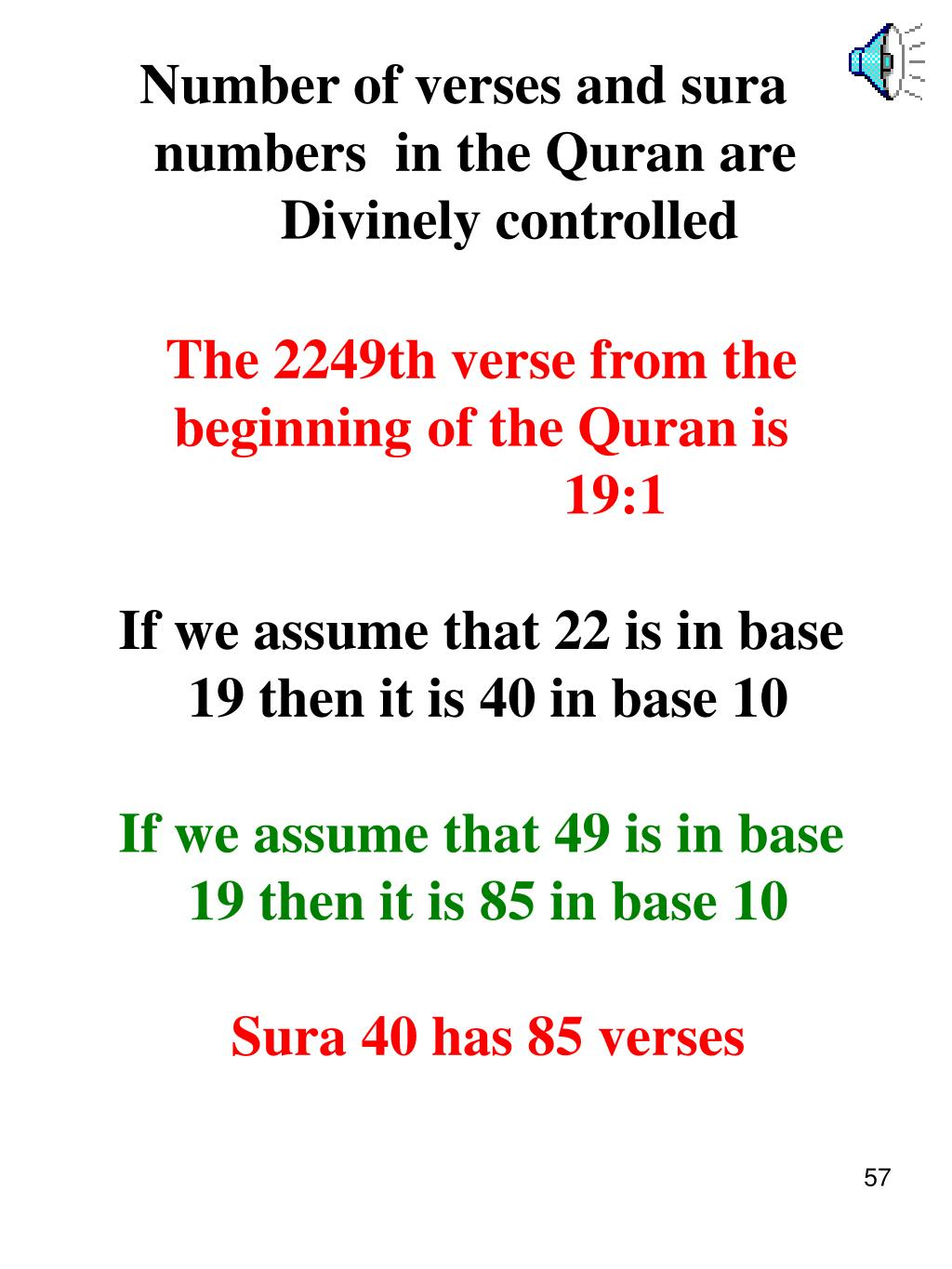 Number of verses and sura
