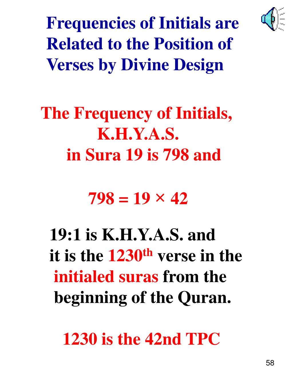 Frequencies of Initials are  Related to the Position of Verses by Divine Design