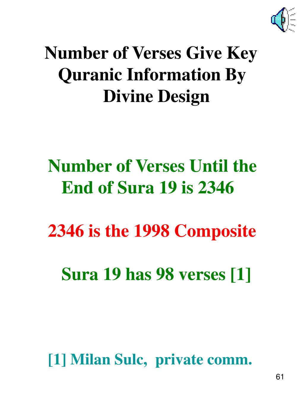Number of Verses Give Key