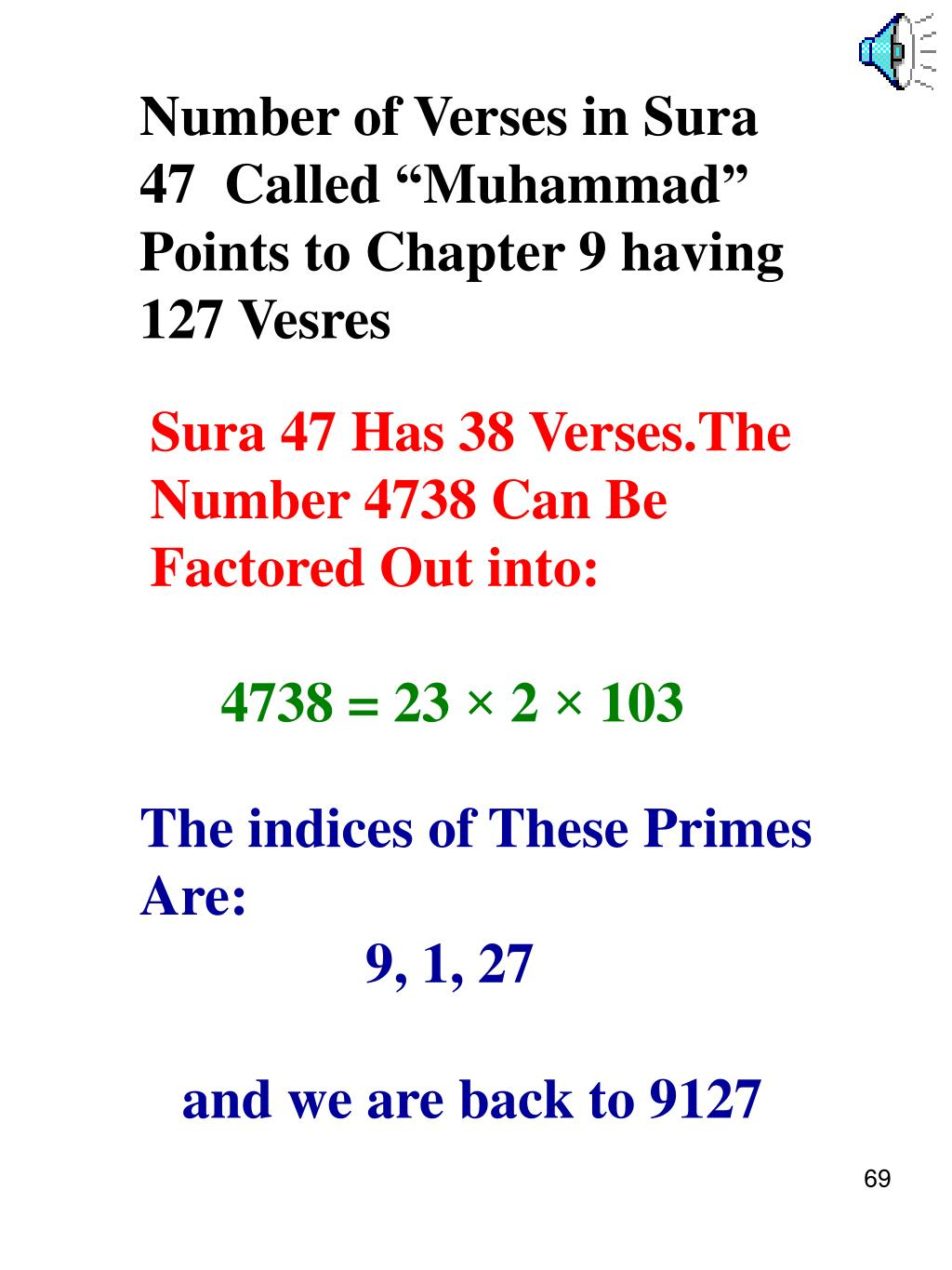 """Number of Verses in Sura 47  Called """"Muhammad"""" Points to Chapter 9 having 127 Vesres"""