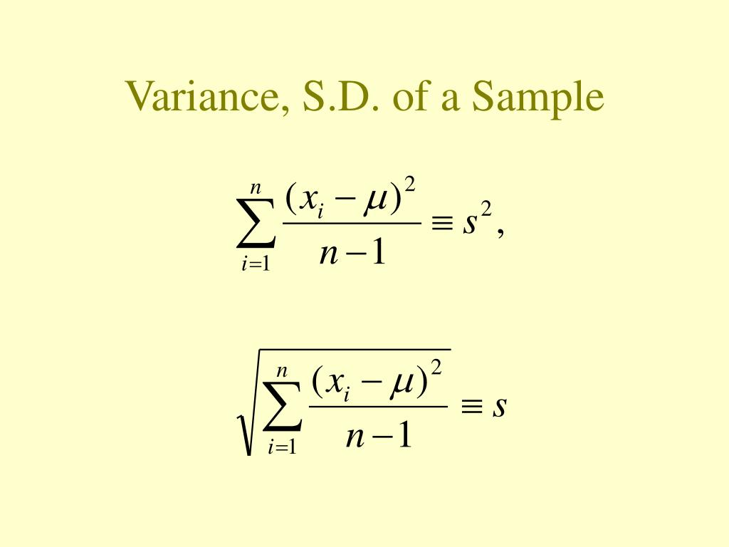 Variance, S.D. of a Sample