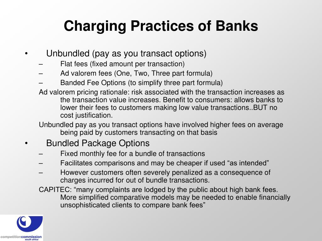Charging Practices of Banks