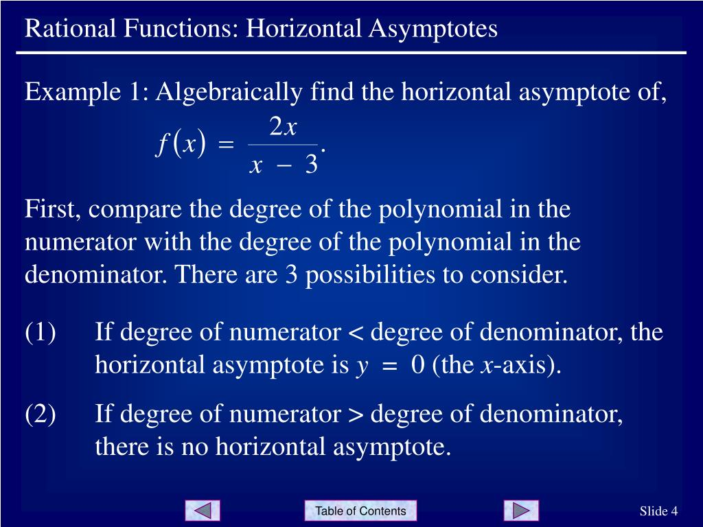 Example 1: Algebraically find the horizontal asymptote of,