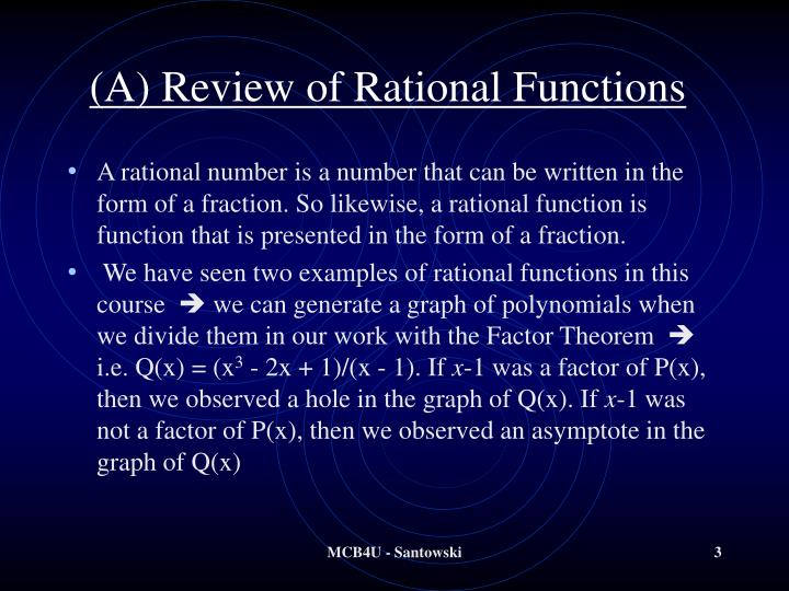 A review of rational functions