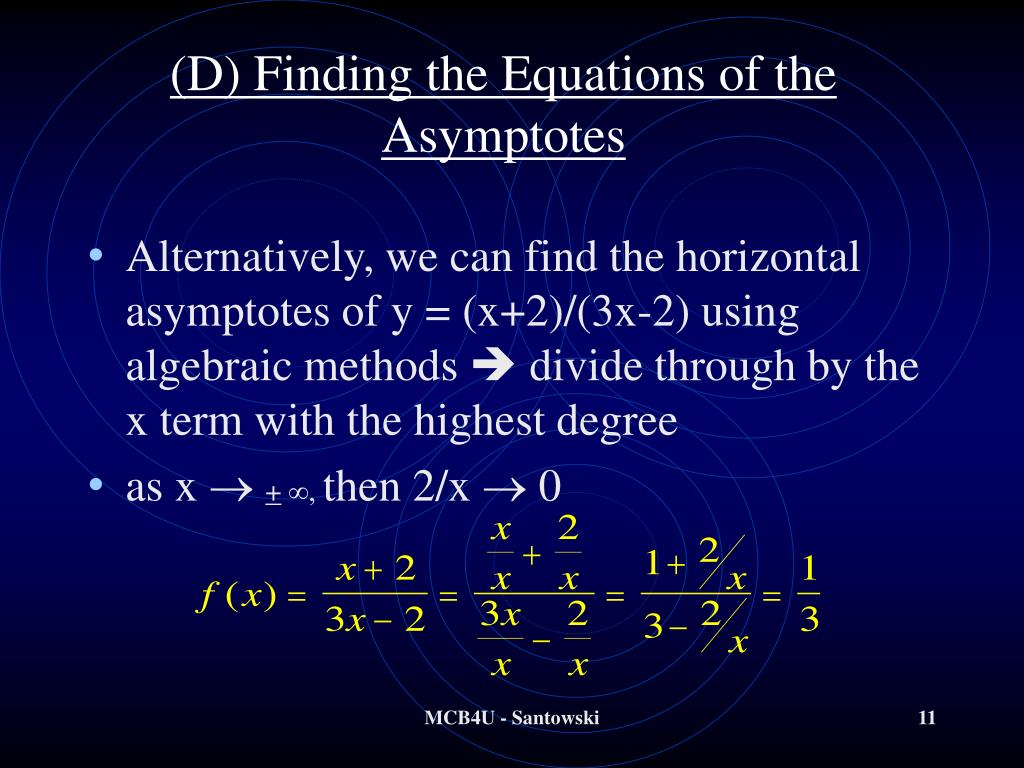 (D) Finding the Equations of the Asymptotes