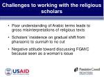 challenges to working with the religious scholars21