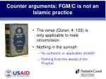 counter arguments fgm c is not an islamic practice